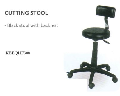 Black Stool With Backrest HF308